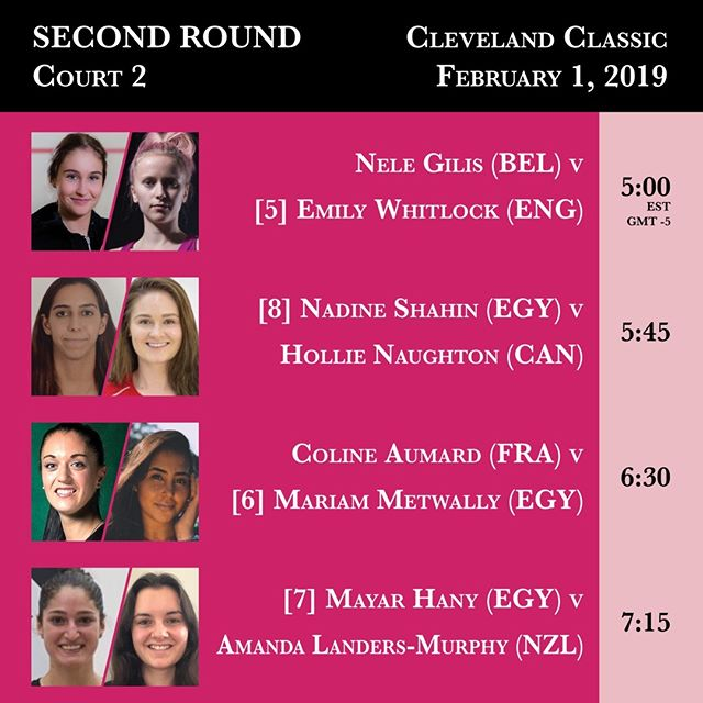 Court 2 Second Round action from the 2019 Cleveland Classic begins February 1 at 5:00 PM. #clesquash #clevelandclassic2019