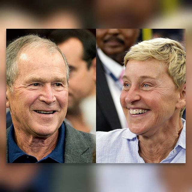 """On Tuesday, Ellen explained that she's friends w/ George Bush. """"In fact, I'm friends with a lot of people who don't share the same beliefs that I have. We're all different, and I think that we're forgotten that that's okay that we're all different. When I say be kind to one another, I don't mean only the people that think the same way you do. I mean be kind to everyone."""" -- Iraq, Guantanamo, Katrina, waterboarding, anti-gay propaganda.. -- """"We can disagree and still love each other unless your disagreement is rooted in my oppression and denial of my humanity and right to exist."""" James Baldwin . . . What are your thoughts?"""