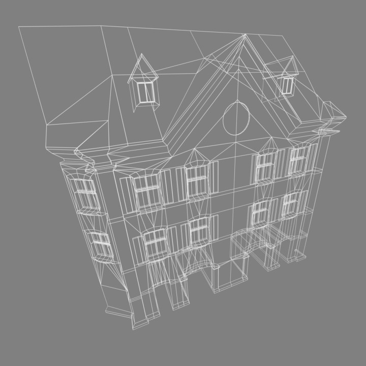Using the Photogrametry as a guide, i recreated the closest buildings in the VR Scene with a simplified and linear mesh that would make it easier to create detailed textures.
