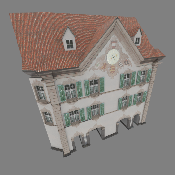 Using a combination of baking textures from photographs as well as using painting software and seamless textures i created new and more detailed textures for the buildings