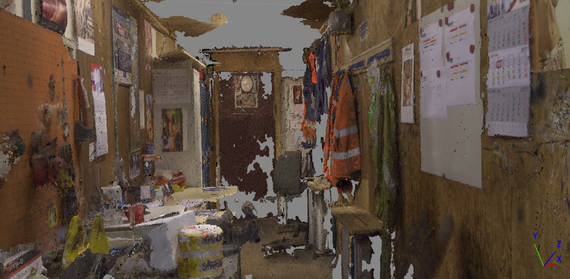 On my search for a interesting place to portray for VR i came across a crane operator office, that was placed inside a container. I decided to make a photogrametry model with permission of the workers. However the photogrametry was not to my liking so i decided to make my own interpretation of the room.