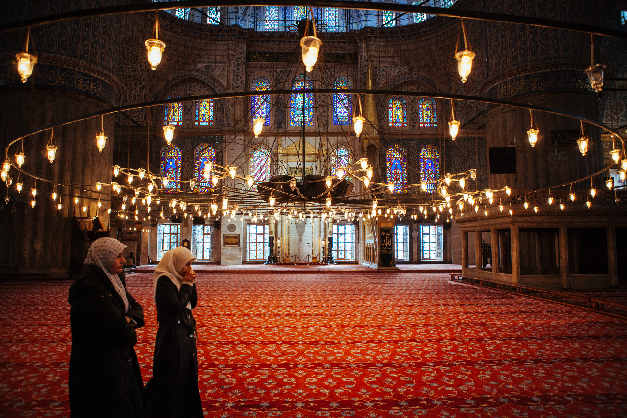Interior of the Blue Mosque . Istanbul