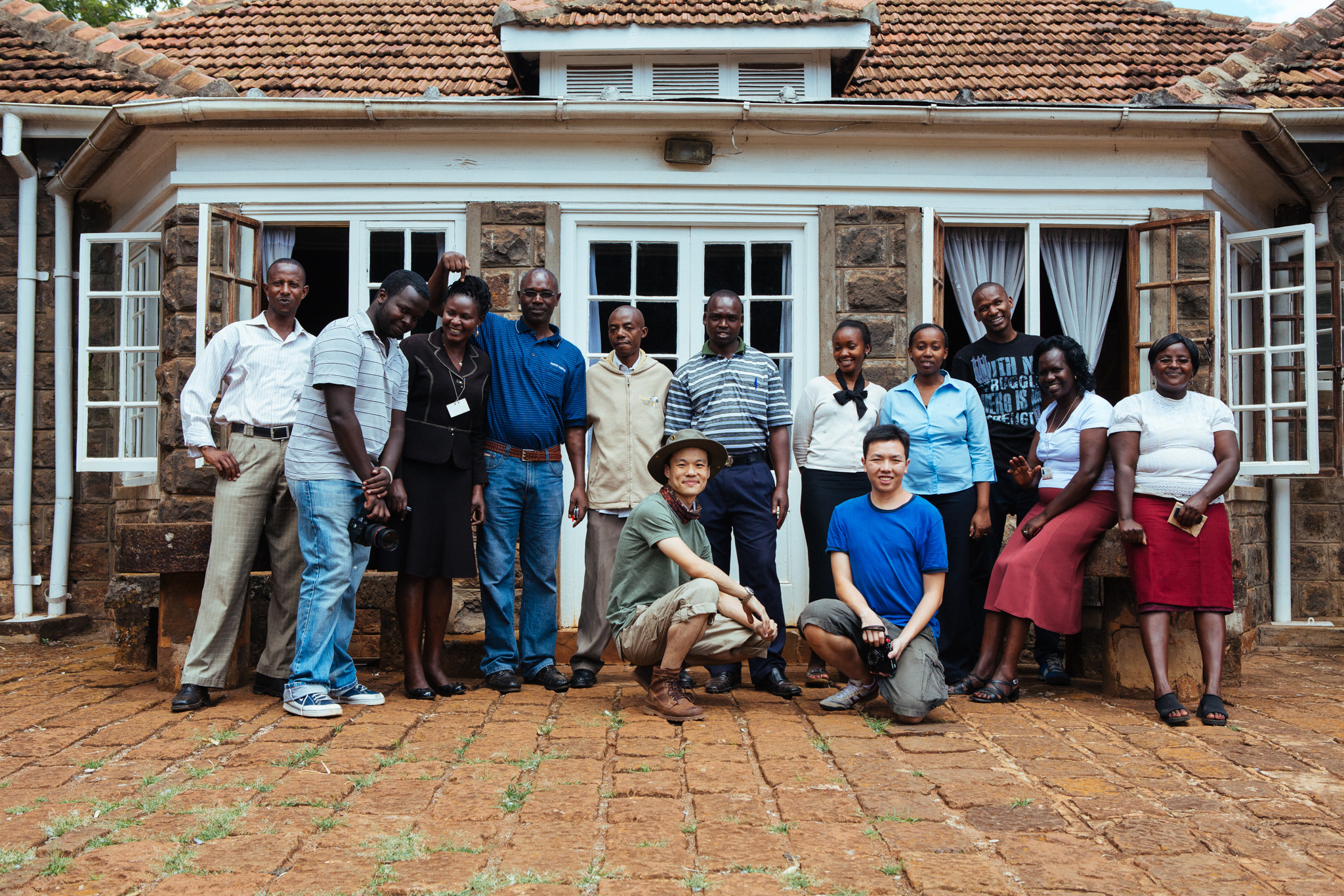 Joel (in blue) and me posing with the team at the Karen Blixen Museum in Kenya.