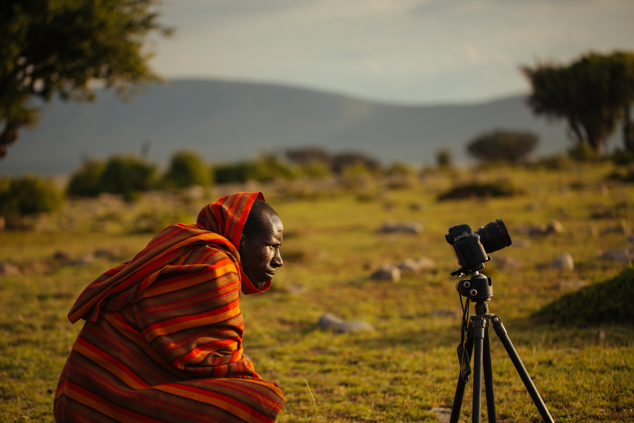 A Maasai native looking at our time-lapse capture.