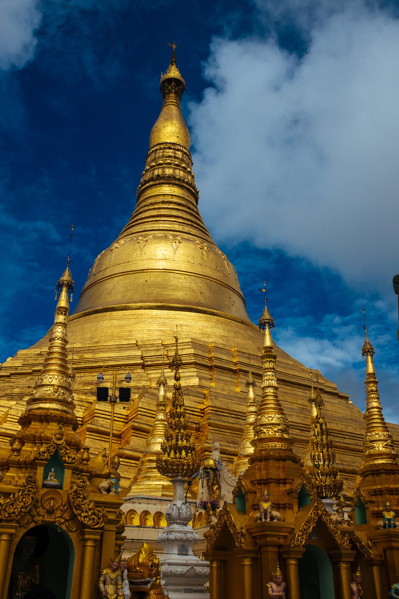 The Shwedagon Pagoda in Yangon is a gilded stupa and the most important Buddhist pagoda in Myanmar. The religion is practiced by 90% of the Myanmar's population.