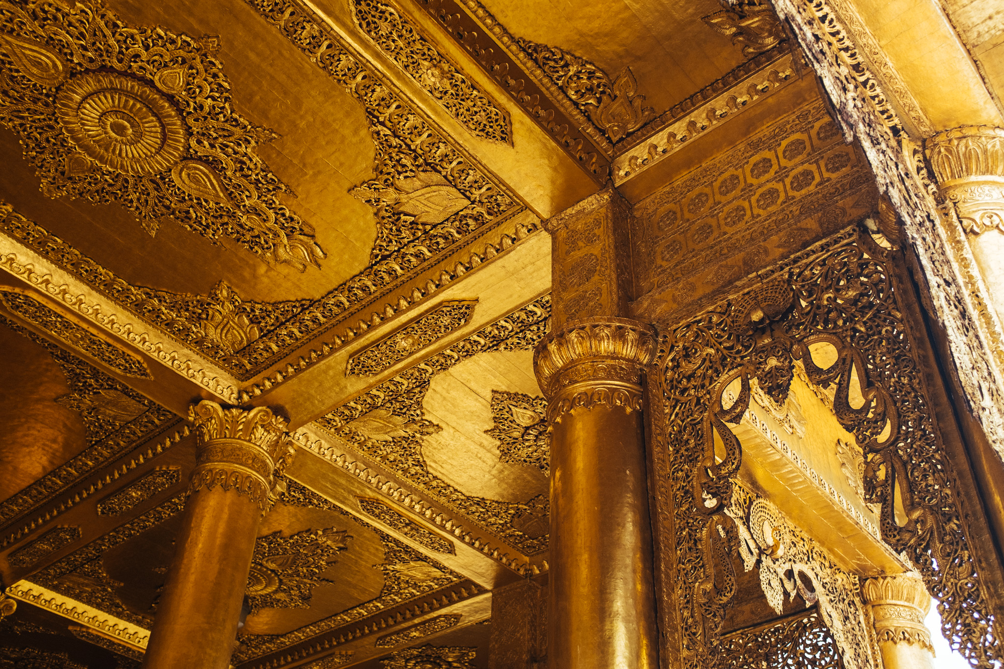 The Shwedagon Pagoda isn't the only monument gilded in gold. Many of it's hallways, chambers and other main structures are also fully covered with golden foil.