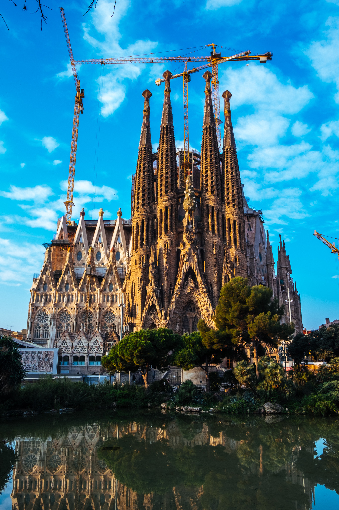 This is the famous Sagrada Familia - an unfinished roman catholic church designed by Antoni Gaudí. Started in 1882, it is still in the process of being completed.