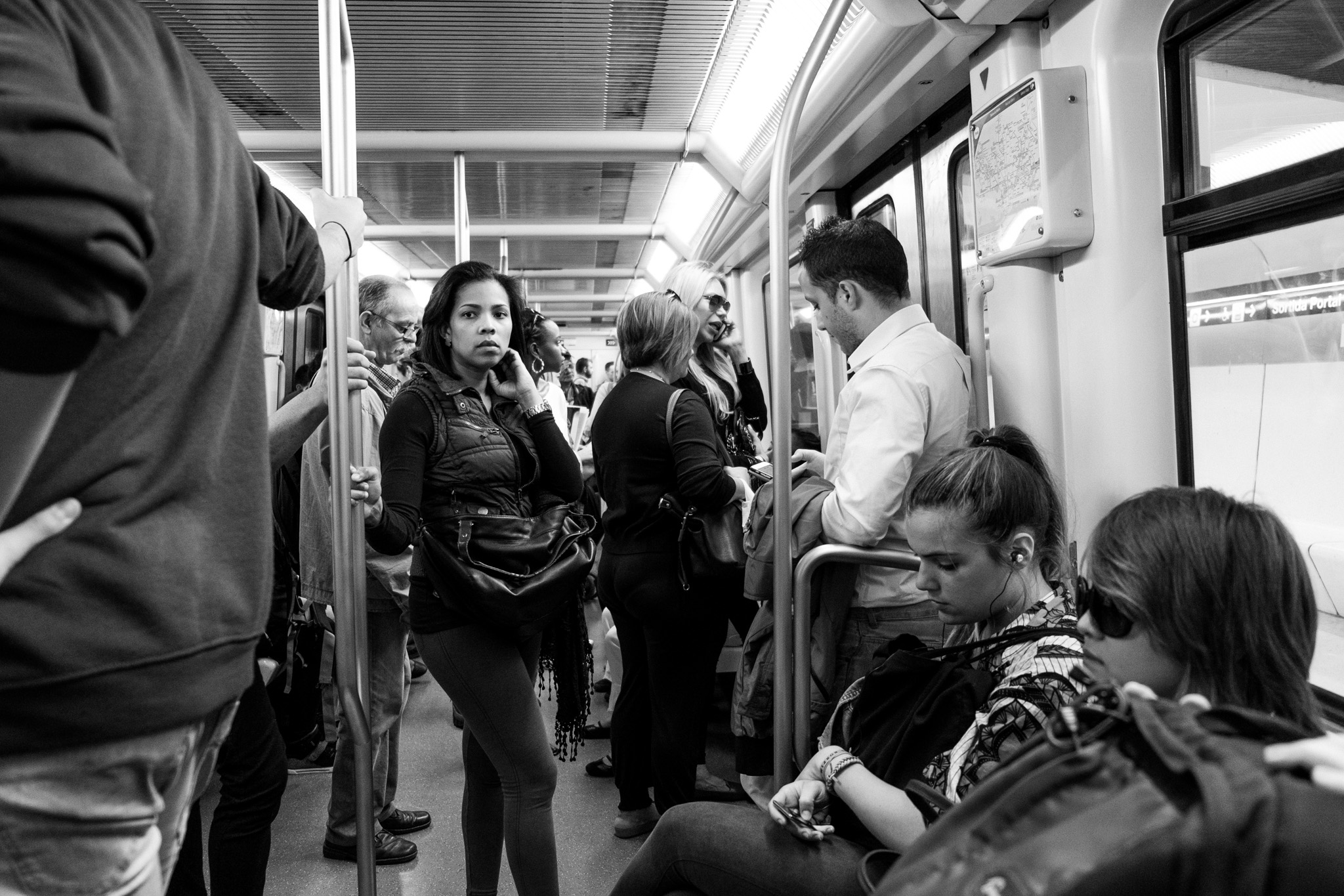 Folks on the subway. I get one of these shots at every city I visit just to see how people react.