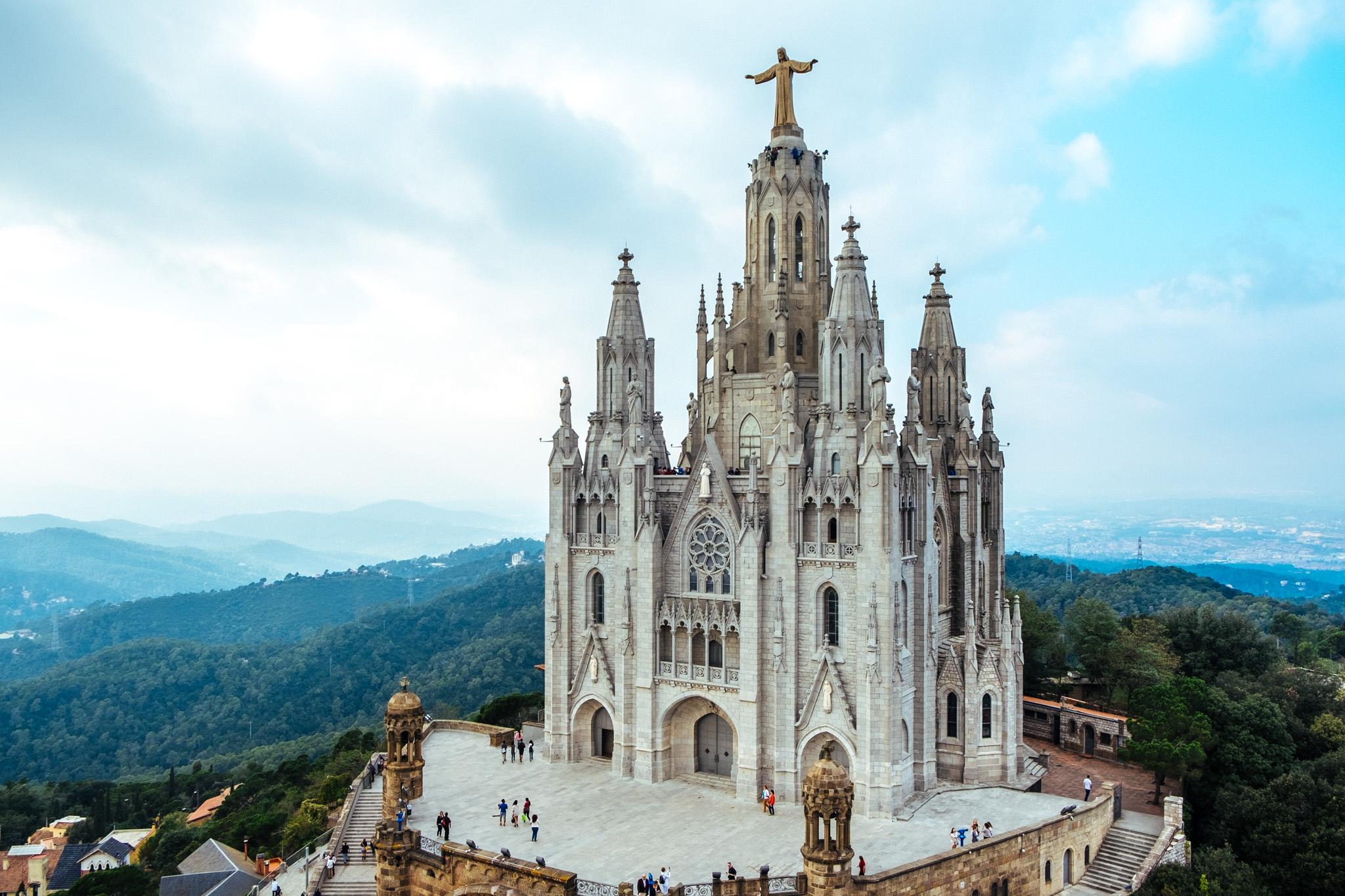 The Roman Catholic Sagrat Cor Church sits adjacent to the Tibidabo Amusement Park and is a beautiful minor basilica build in 1902.