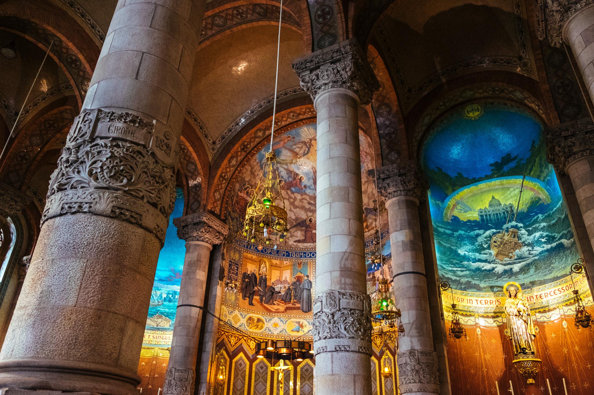 Details inside the Sagrat Cor Church.