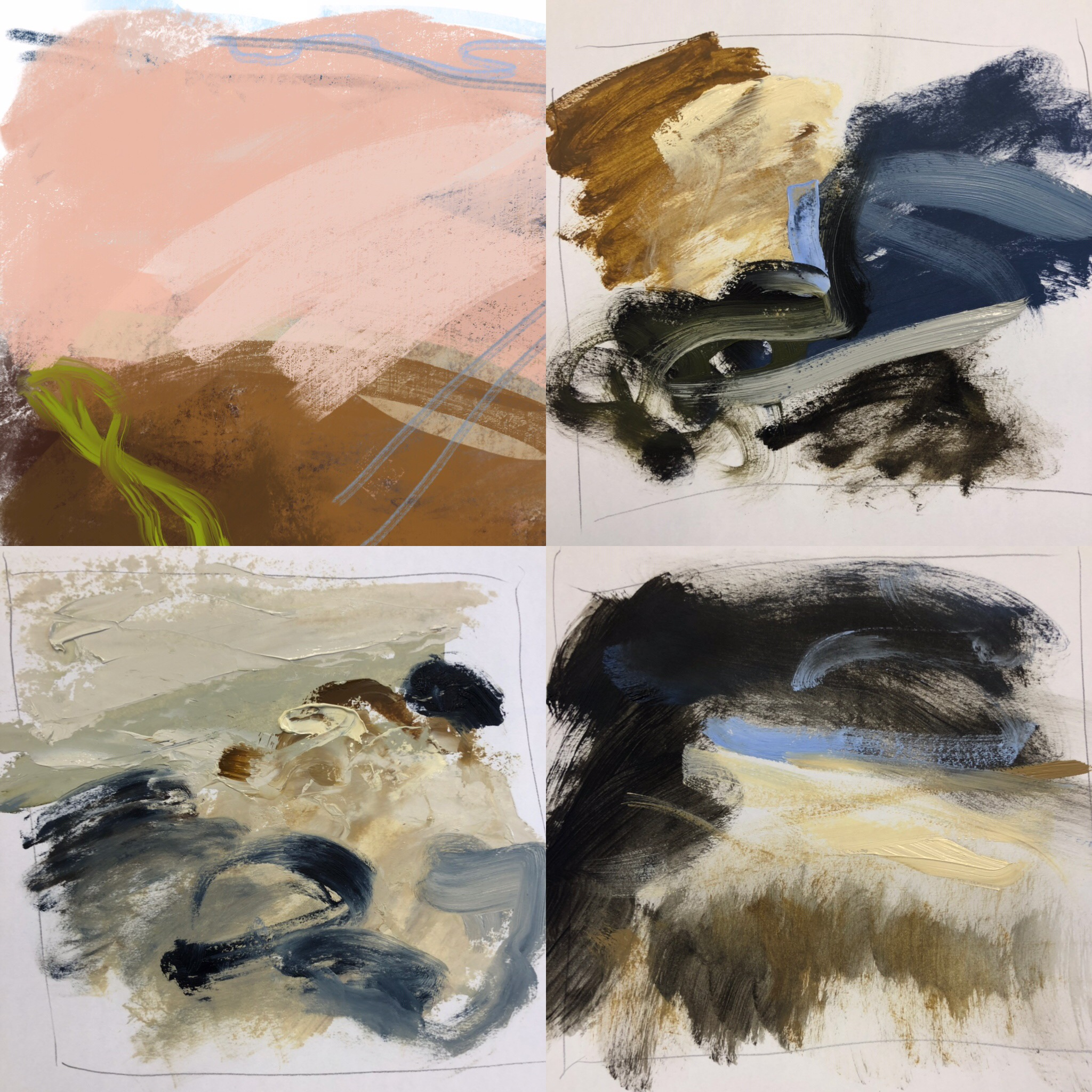 From left top - digital sketch and oil on paper - South Downs