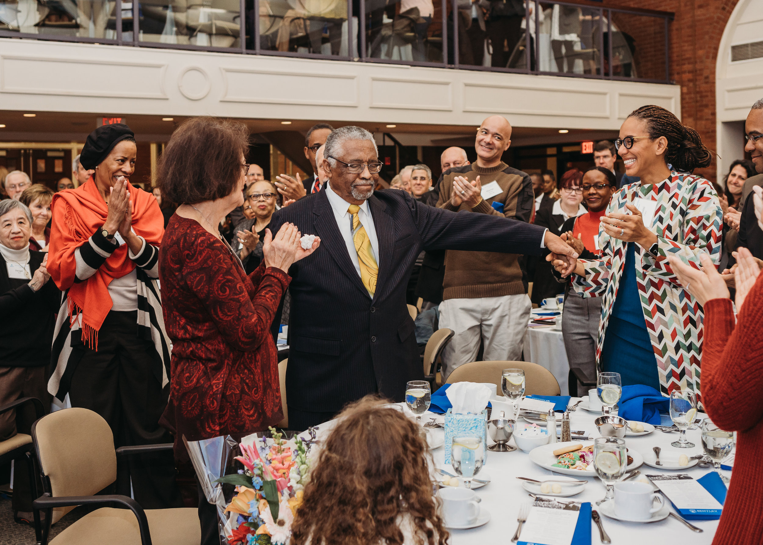 Covering Bentley University's MLK Luncheon featuring retiring ombudsman Earl Avery. Boston corporate event photography by Joy LeDuc.