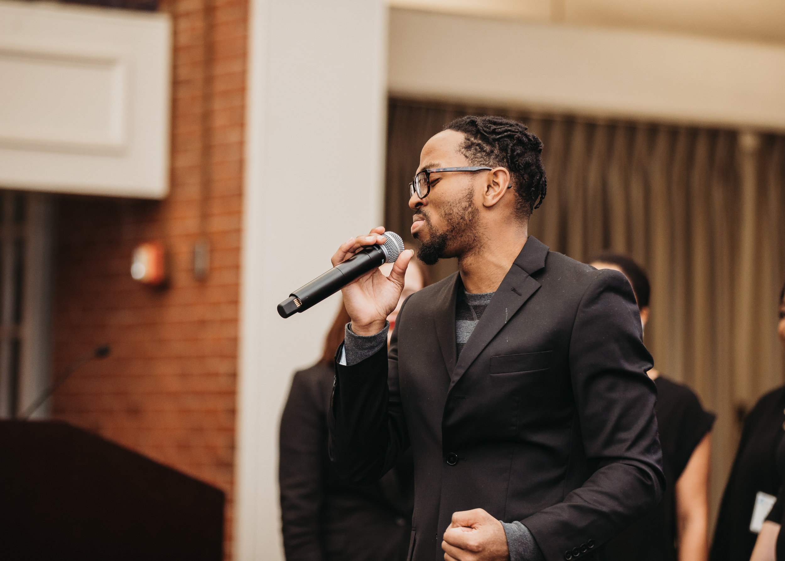 Gospel performance at the MLK Luncheon at Bentley University. Boston corporate and higher education event photographer Joy LeDuc.