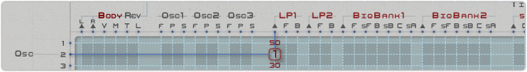 A section of the matrix, showing a highlighted connection:  Osc 2  using  Constant 1  into  Low Pass filter 1 input