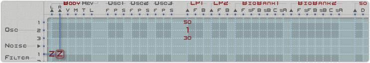A section of the matrix, showing a highlighted connection:  Filter 1  using  Predefined formula Z  into  Audio Right Out