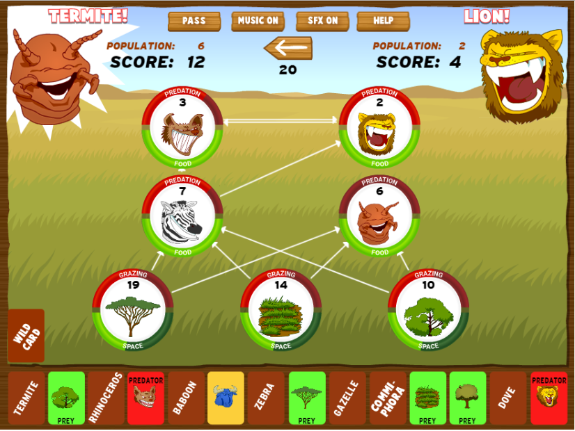 FoodFight! A 2-player game of biome domination developed at BrainPOP