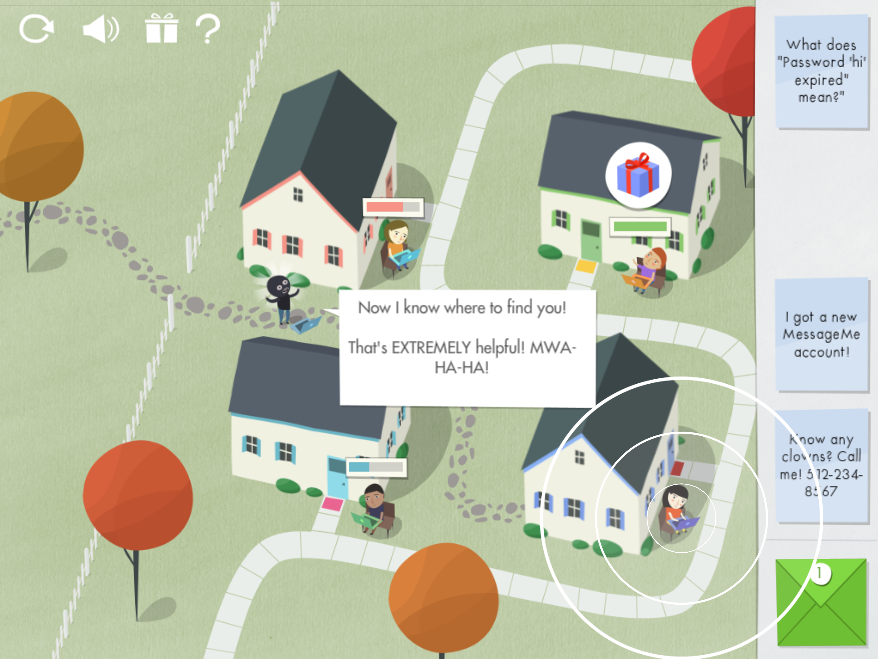 Beat the Thief! Designed and developed at UT Austin's Center for Identity to teach kids about safe online sharing