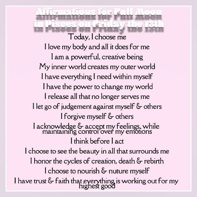 I personally think that these are great affirmations for any day of the week, but they are especially potent for working with today's energy!  Check out my previous post or my stories, to learn more about working with the energies of the full moon in Pisces and Friday the 13th (A divinely feminine and positive day!) ©itsstellamarin . . . . . . . . . . . . #fullmoon #fullmoonpisces #fridaythe13th #divinefeminine #goddessenergy #selflove #selfcare #selfworth #manifesting #cleansing #releasing #lettinggo #healingemotions #faith #venus #neptuneretrograde