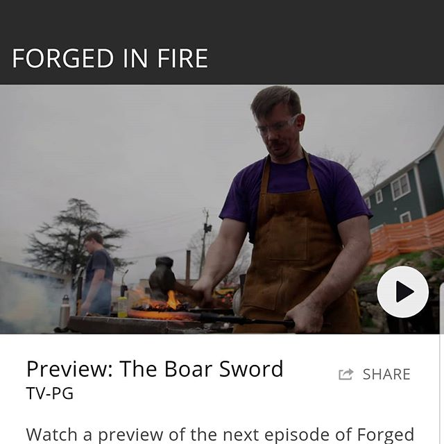 Tonight, 9pm! Watch me go head to head with a bunch of very talented Smith's. @history channel @forgedinfire . It was the hardest I have ever worked while still having the time of my life.  #knivesofig #forgedinfire #knifemaker #swordsmith #swords #medieval #edc #edcknife #camping #campingknife #brooklynart #brooklynartist #tv #competition