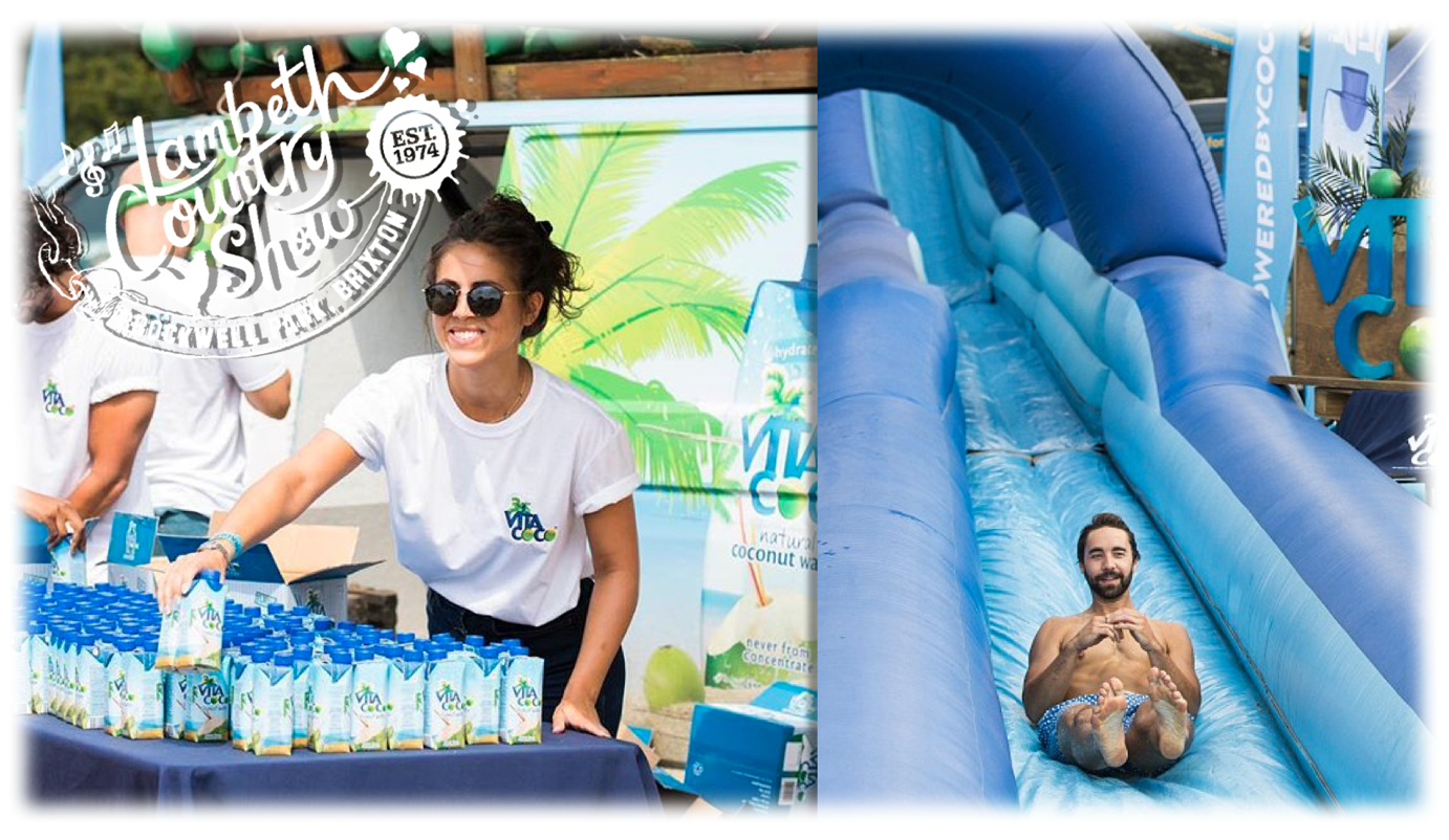 Vita Coco x Lambeth Country Show - We worked with Vita Coco to create the UK's biggest Slip n Slide at the largest festival in London - Lambeth Country Show, as well as creating 'Coconut Grove' - an amazing beach area for festival go-ers to chill out and enjoy delicious Vita Coco 'mocktails' in-line with their 'Stay Hydrated' slogan.