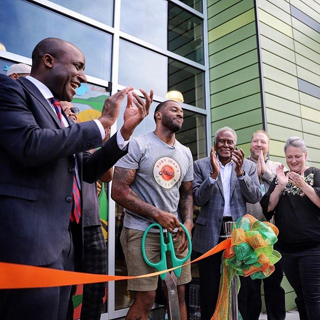 I was so delighted to join Chris Goode and the @rubyjeansjuicery family for their opening at @wholefoodskc today.  Great to see an entrepreneur from our community pursuing his dreams and having such great success.  #KCMO