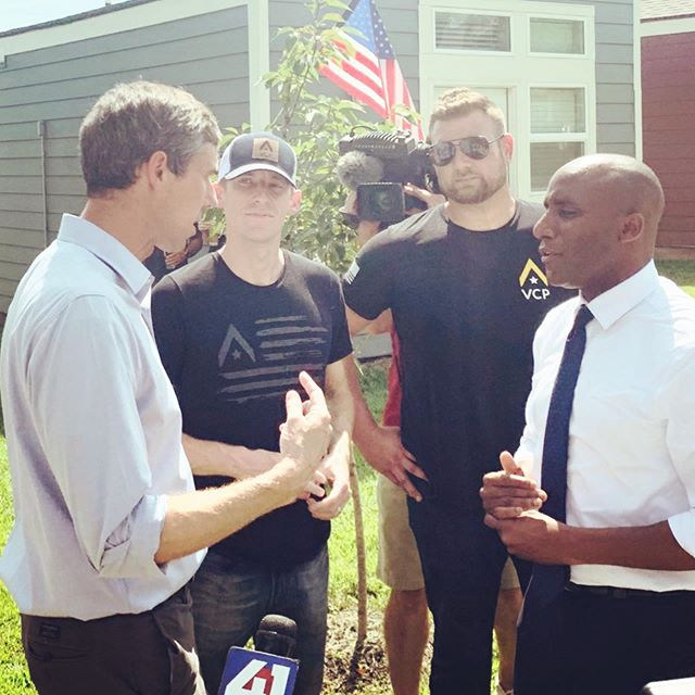 Enjoyed visiting today with the very personable @betoorourke about @vcp_hq and the work being done in #KansasCity to improve housing and health conditions for veterans and our community.  Thanks to @jasonkander and the @vcp_kc family for organizing! #KCMO #2020