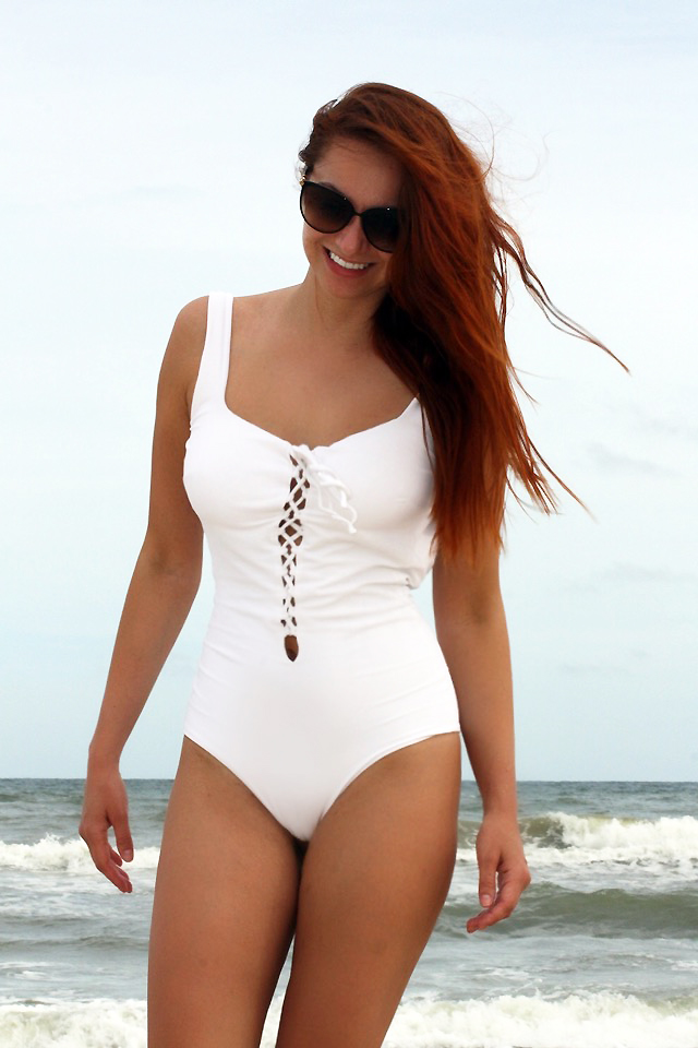 I AM WEARING:    Zara    Pique Lace-Up Swimsuit //    Jimmy Choo    Sunglasses