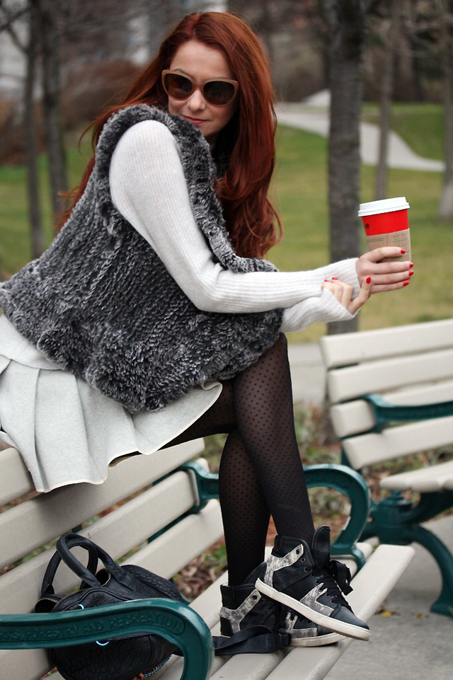 I AM WEARING:    Black by Saks Fifth Avenue    Vest /    Vince    Sweater /    Sunday Best    Skirt /    Lanvin    Sneakers /    Alexander Wang    Purse /    Club Monaco    Tights /    Dolce & Gabbana    Sunglasses
