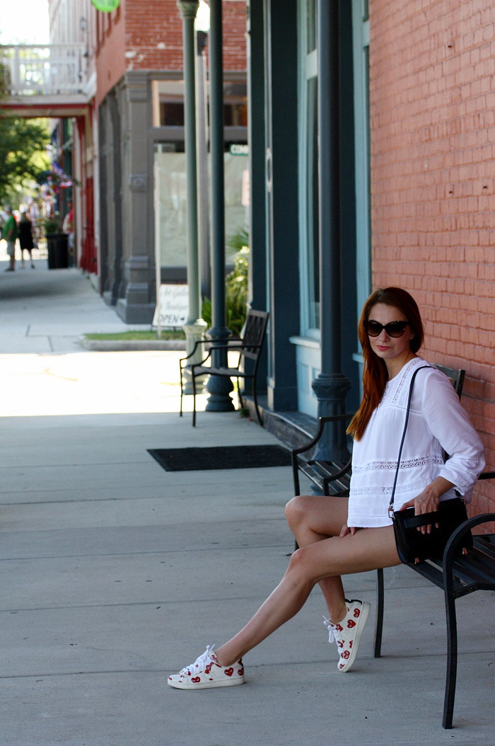 I AM WEARING:    Wilfred    Blouse,    Citizens of Humanity    Denim Shorts,    Commes des Garcons    x Converse Sneakers,    Chloe    Sunglasses,    Alexander Wang    Purse