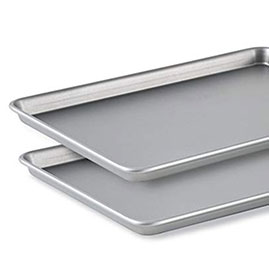 NON-STICK BAKING SHEETS   I'm not a huge baker but I do use my baking sheets fairly regularly. Mostly for cookies, but also for granola and roasting potatoes. Sometimes even for garlic bread :-) The heavy-gauge steel core won't warp and heats evenly without hot spots so your cookies and cakes come out of the oven perfectly and evenly browned.