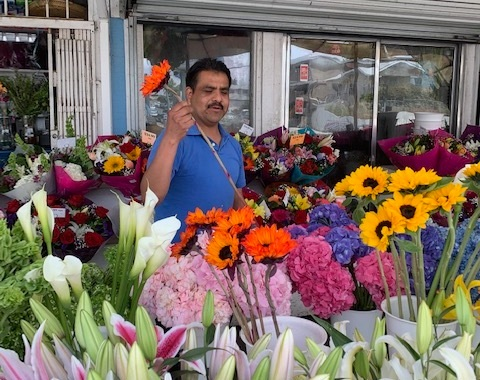 North Park flower stand Everbloom's Antonio Sebastian hand-selects flowers for an arrangement.