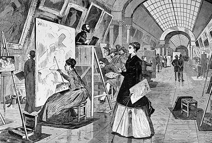 Art Students and Copyists in the Louvre, Paris drawn by Winslow Homer, 1868, Harper's Weekly Jan 1868