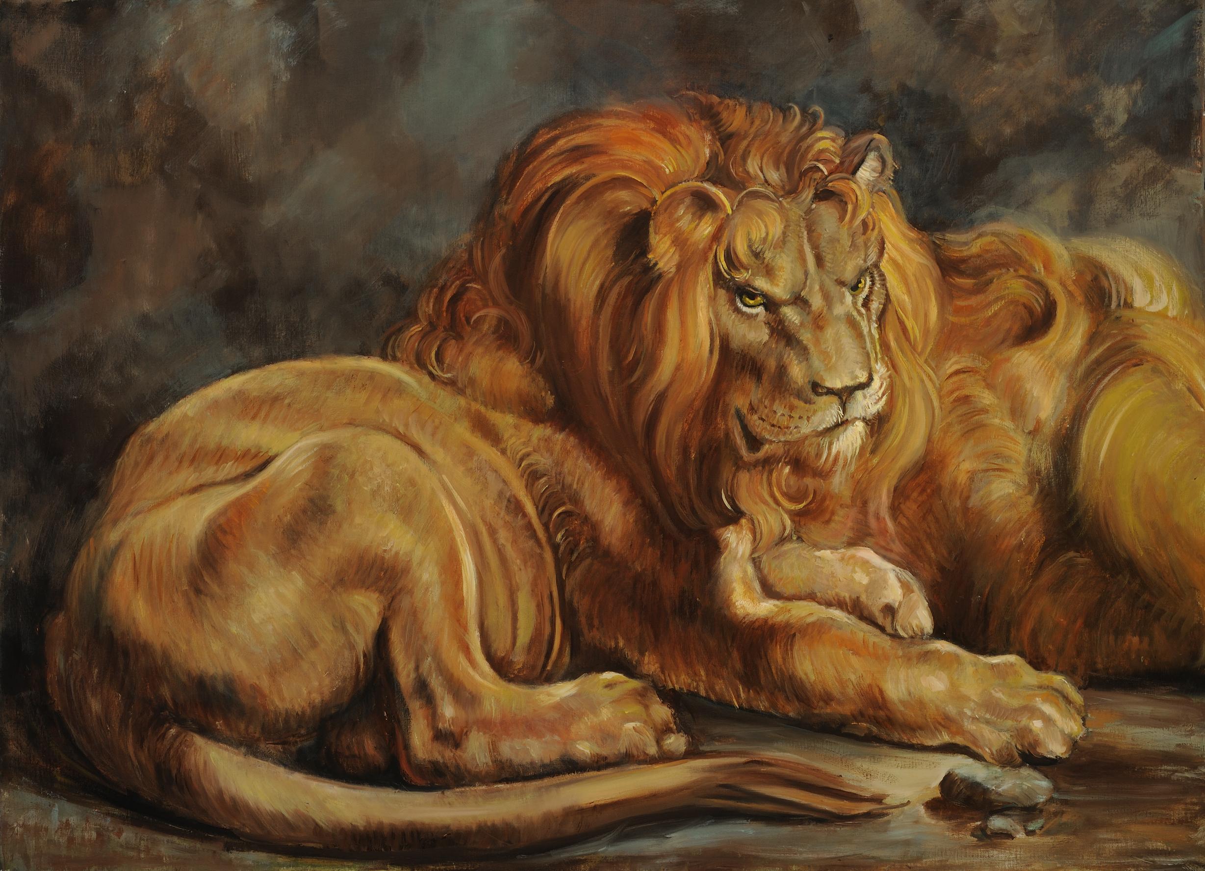 "Copy of Sir Peter Paul Ruebens'  ""Daniel in the Lion's Den"""