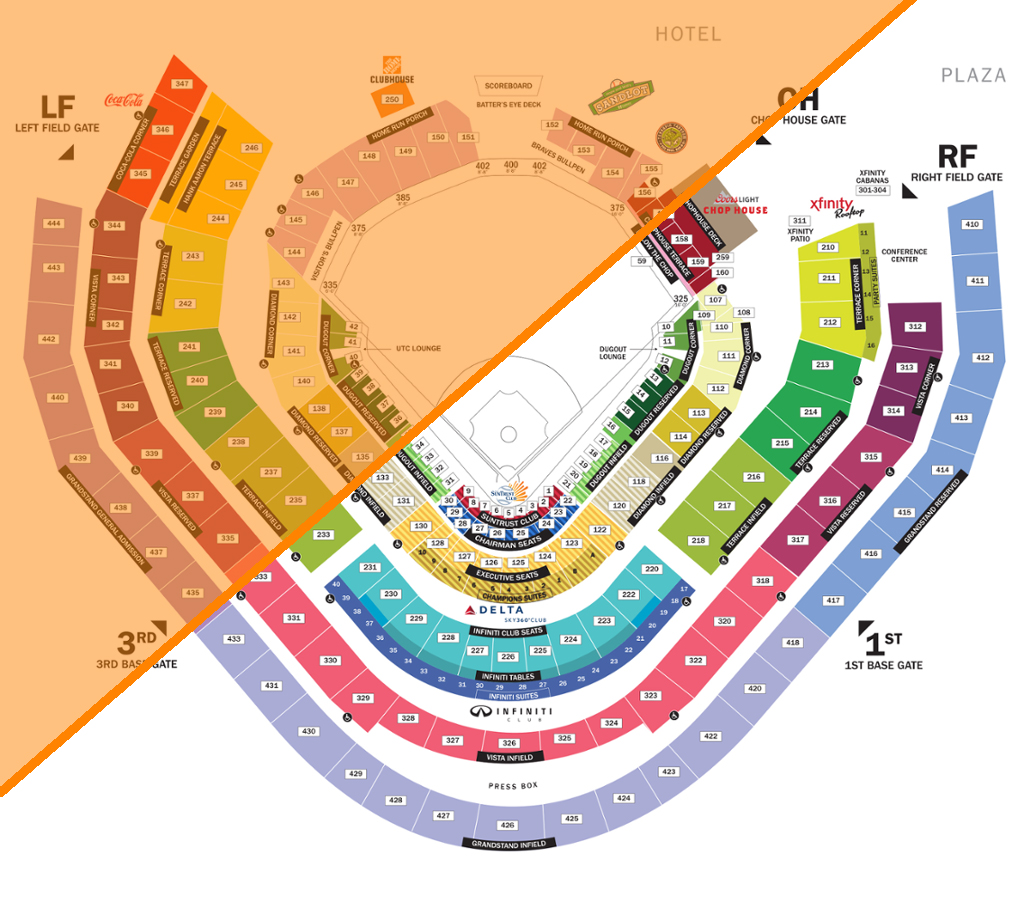 *Orange area indicates sun exposure    edited from source: https://www.mlb.com/braves/ballpark/seating-chart