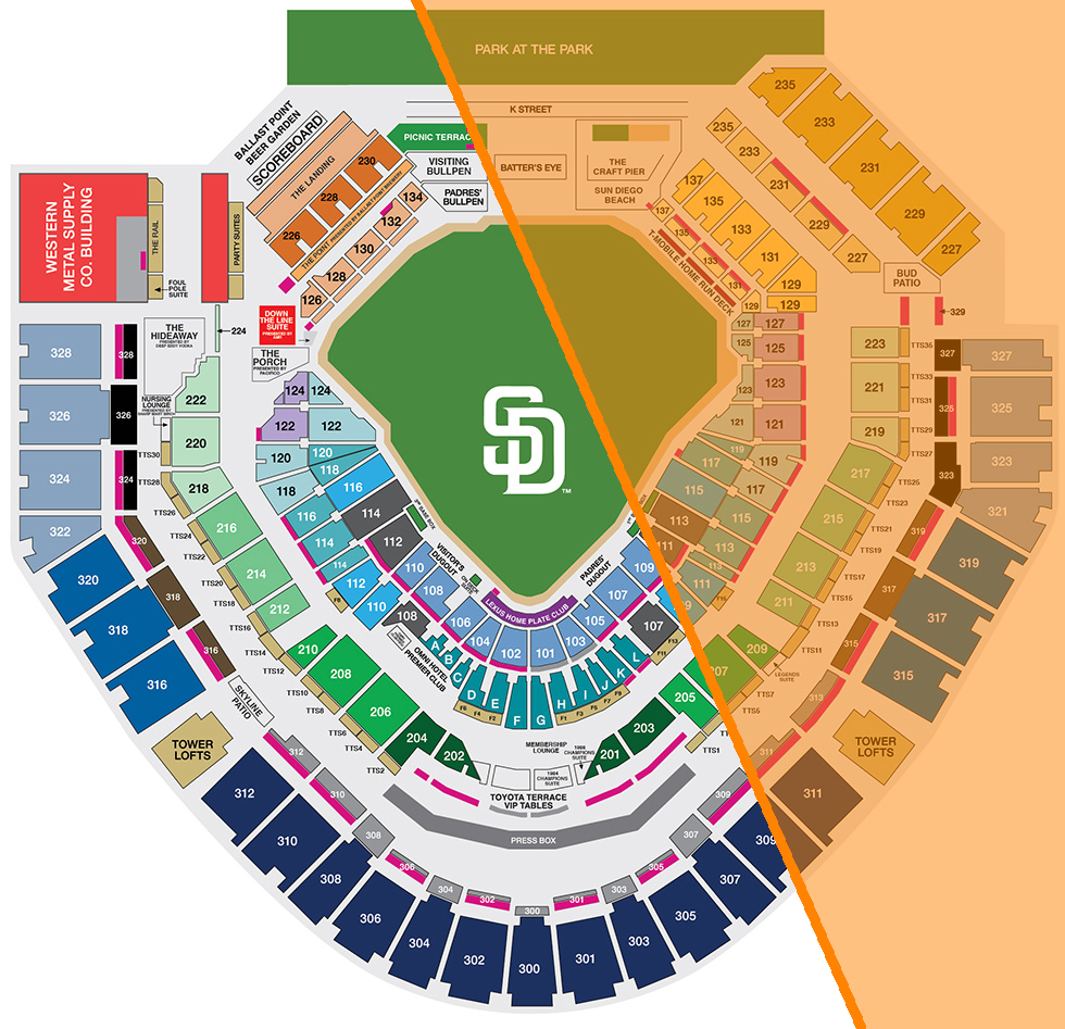 *Orange area indicates sun exposure    edited from source:  http://sandiego.padres.mlb.com/sd/ticketing/seating_pricing.jsp