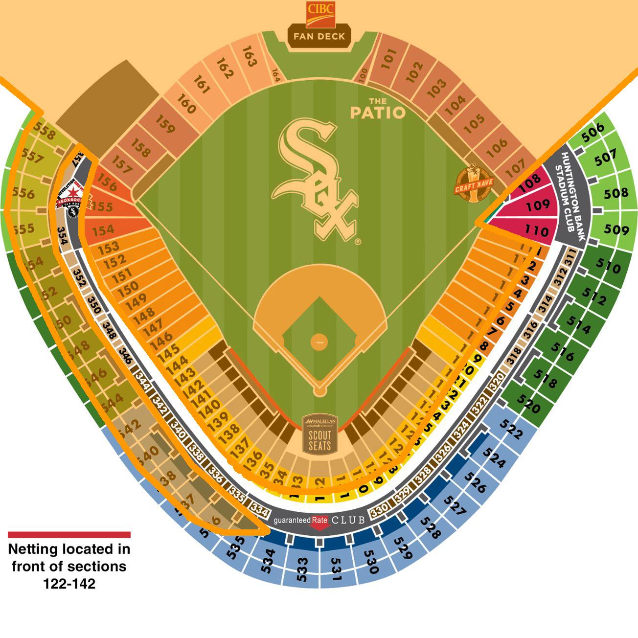*Orange area indicates sun exposure    edited from source:https://www.mlb.com/whitesox/ballpark/seat-map
