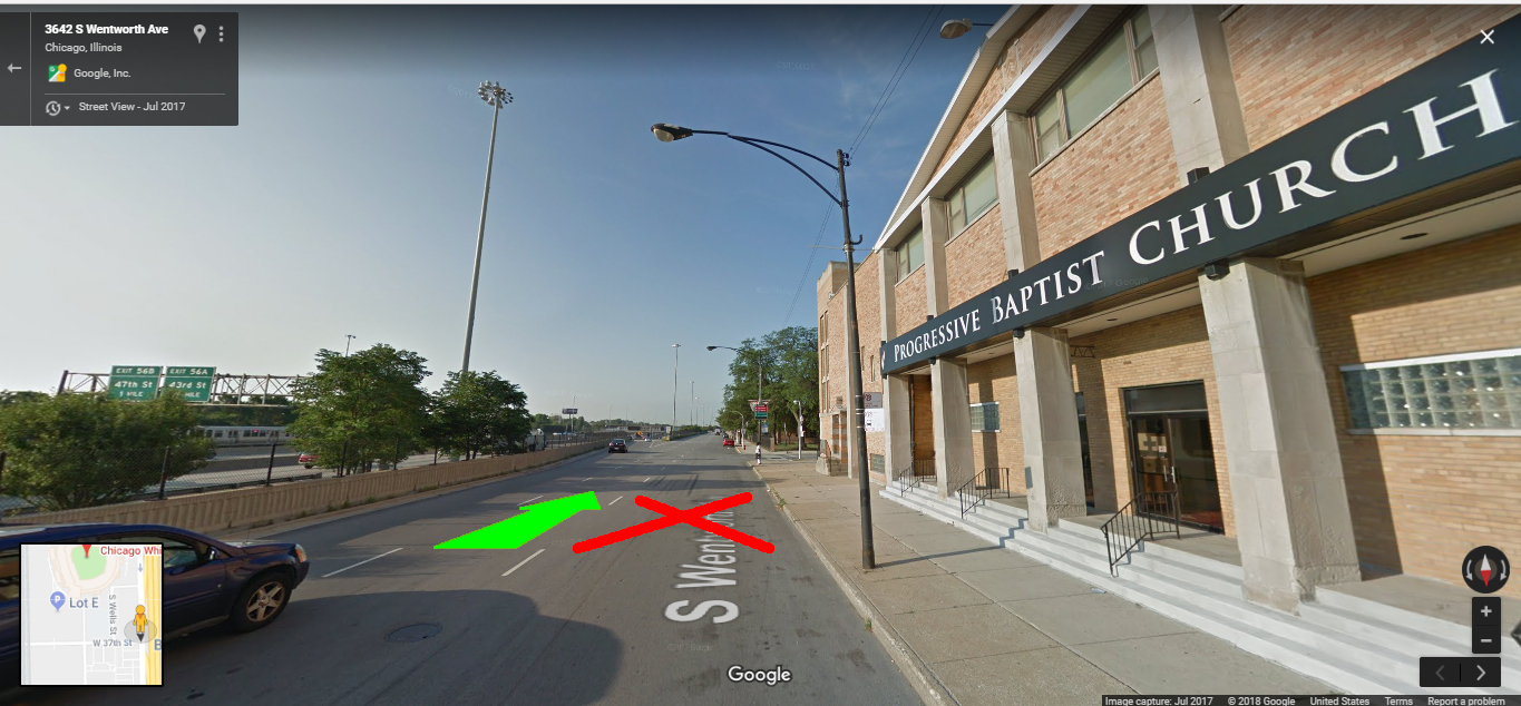 Stay in the middle lane (2nd from the right) when on Wentworth Ave. Entry into 37th St is usually closed off from the Pershing Rd exit.   source: Google Maps