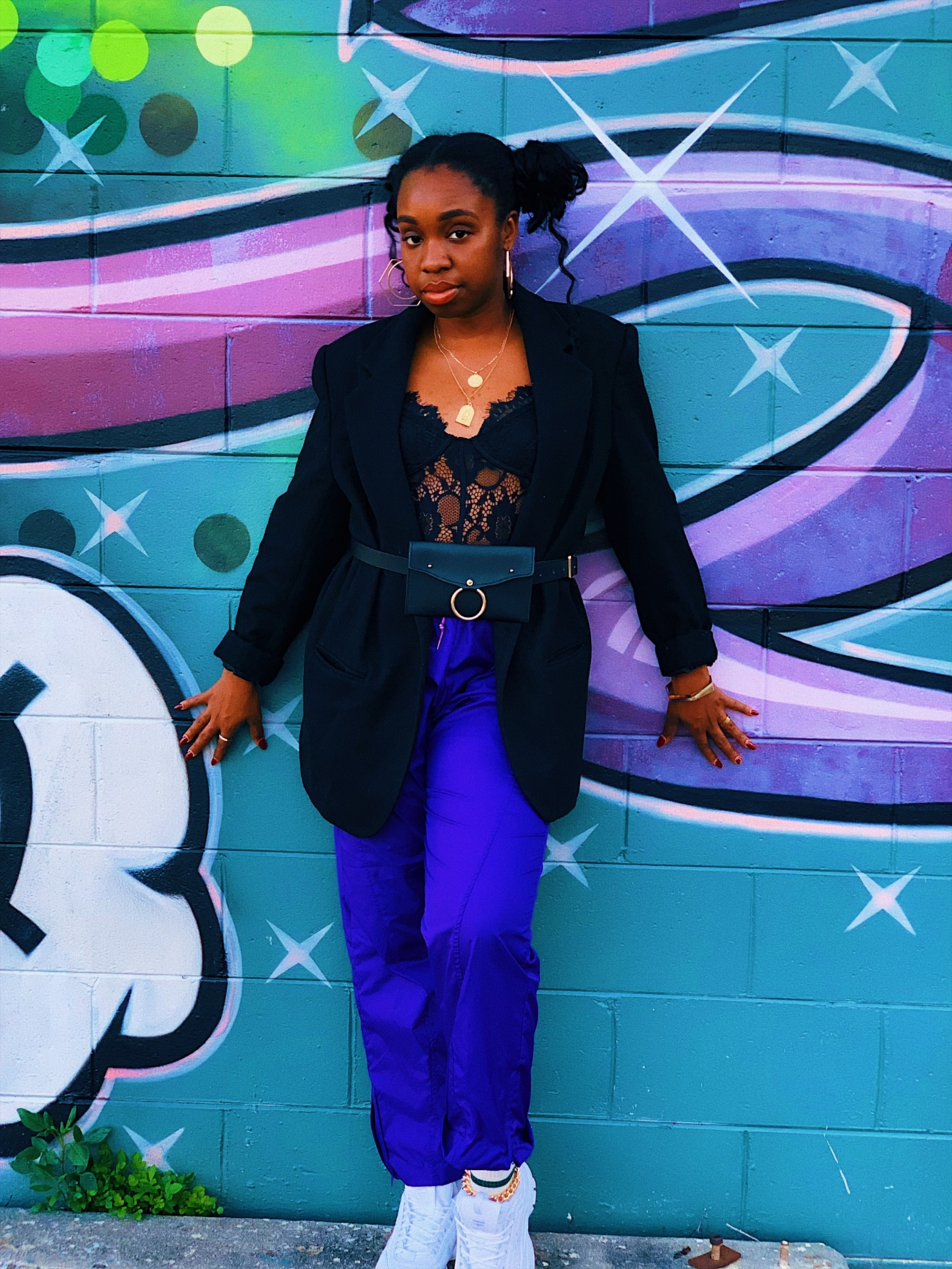 Acid Cupcakes Pants styled with a bodysuit , blazer and chunky sneakers.