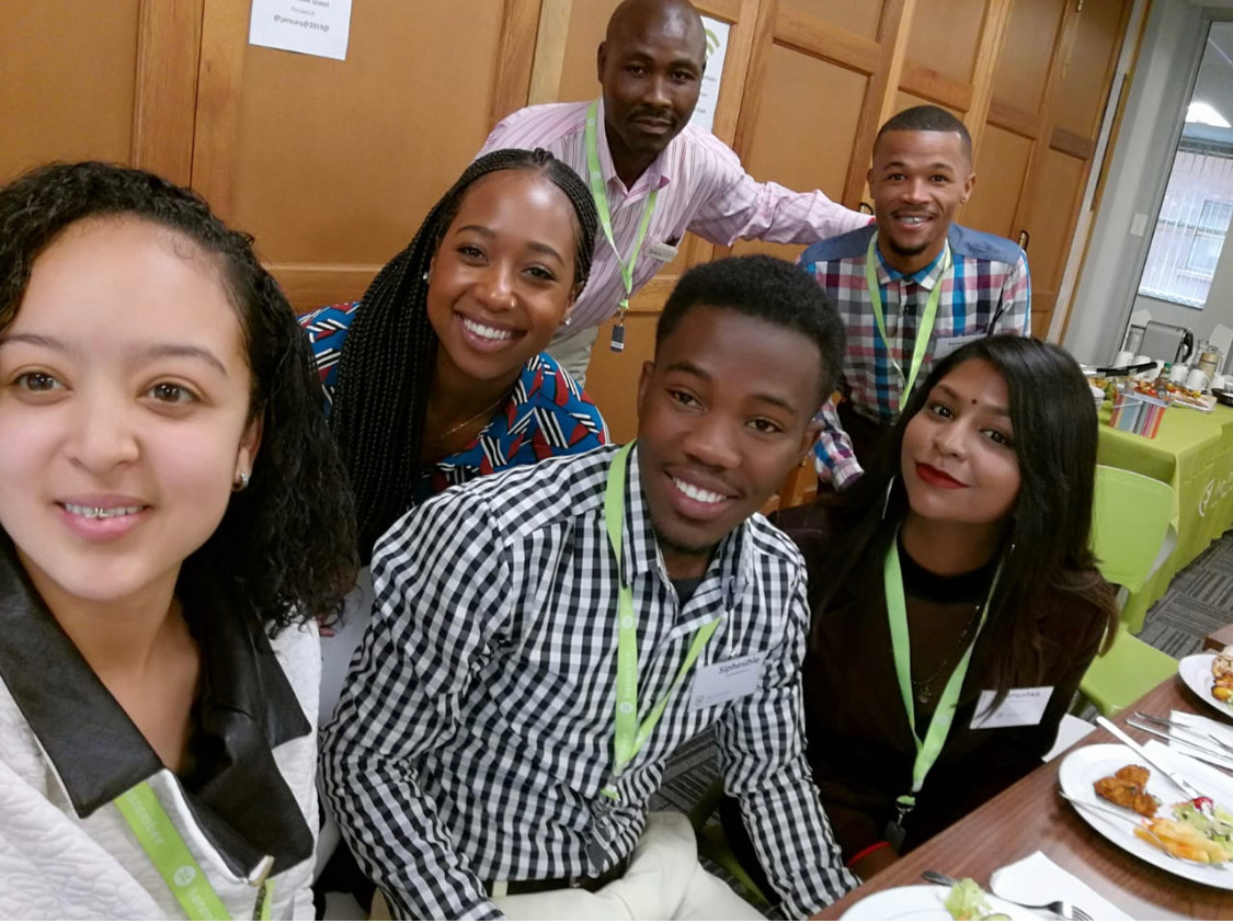 Taneshia, Ruwayne, Siphesihle and other participants in Intervention 18, after sharing their stories on life before Harambee. The group will now begin a one-year apprenticeship at a major corporation but they each also have entrepreneurial ideas that they hope to develop once more financially stable and professionally apt.