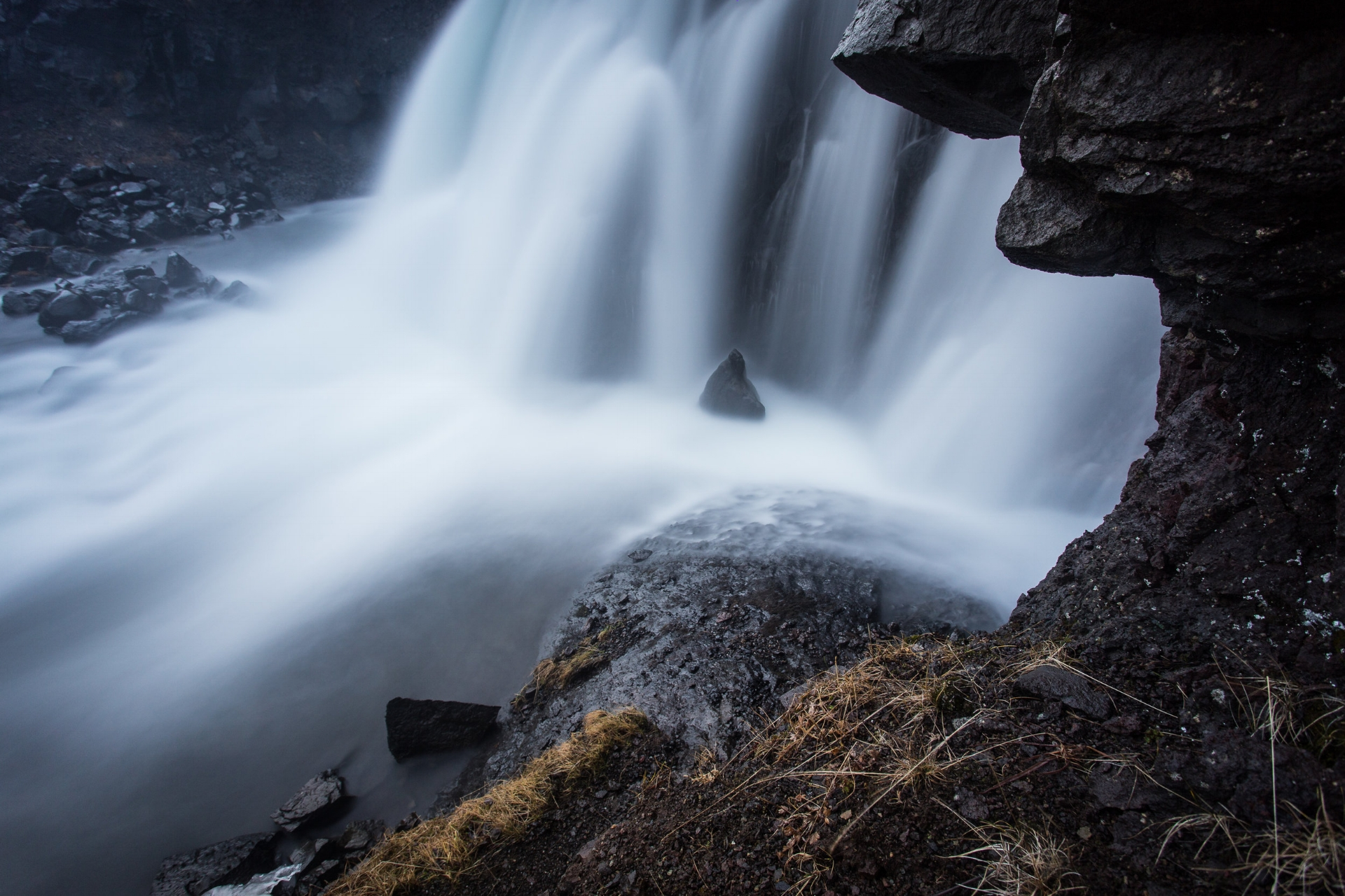 A close-up of Sjávarfoss in Hvalfjörður, Iceland. It's a small waterfall but always worth a detour when you don't feel like driving through a tunnel