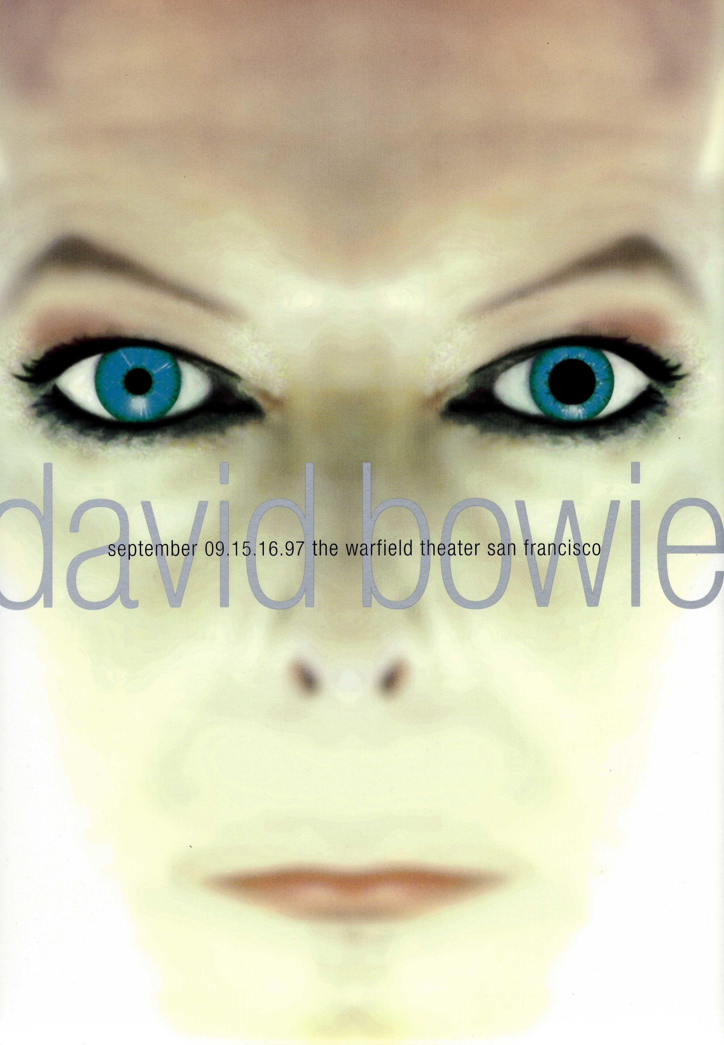 Poster for a David Bowie concert (1997), Rex Ray Graphic Art Collection, GLBT Historical Society, gift of the Estate of Rex Ray.