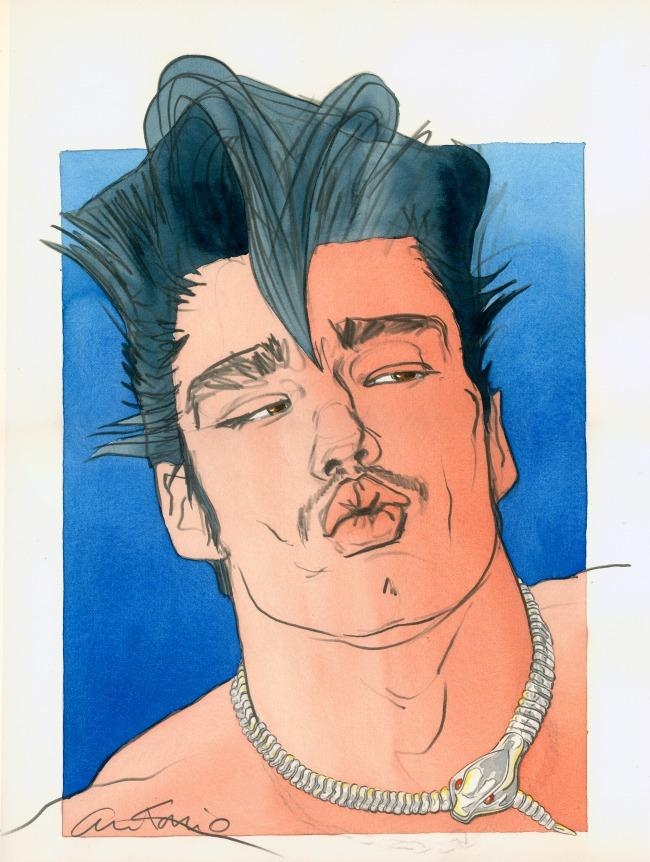 Antonio Lopez.  Mike Haire 1  (1983); watercolor and pencil on paper, 23 in. x 15 in. Courtesy of the estate of Antonio Lopez and Juan Ramos.