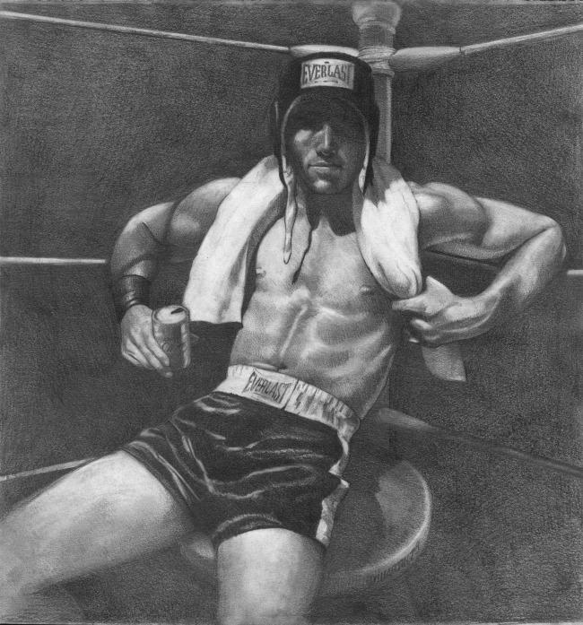David Martin.  Boxer  (1980); graphite on paper, 14.75 in. x 14.75 in. Collection of Leslie-Lohman Museum, New York City.