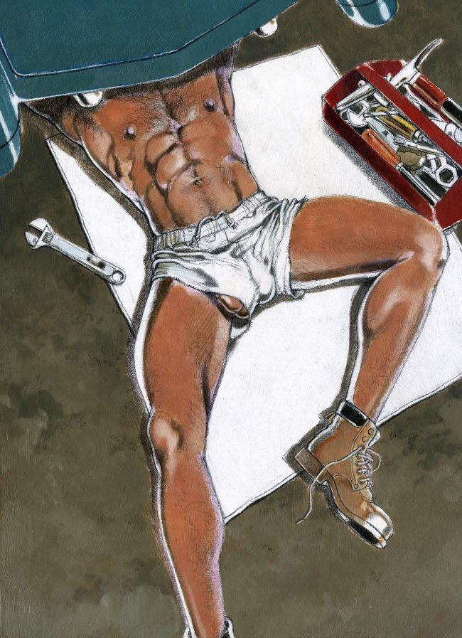 Kent.  The Mechanic  (1992); acrylic and pencil on illustration board, 13 in. x 9.75 in. Published in  MEN  (November 1992). Collection of Leslie-Lohman Museum, New York City; gift of the artist.