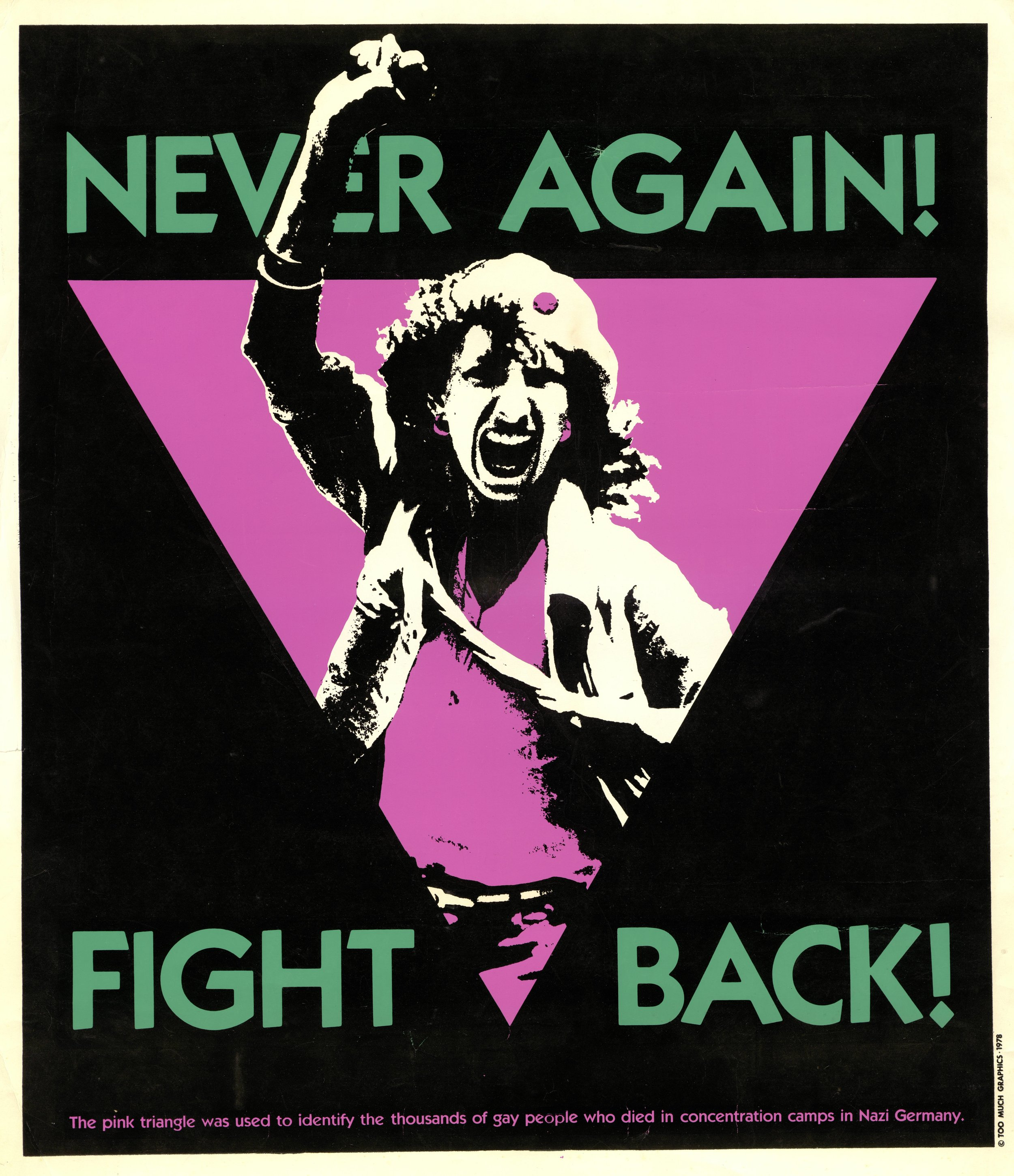 """""""Never Again! Fight Back!"""" (San Francisco: Too Much Graphics, 1978); silk-screened poster sold as a fundraiser for the No on Six campaign, GLBT Historical Society."""
