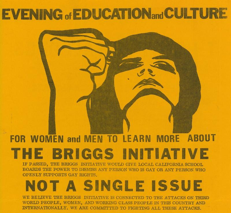 """Detail of a poster for an """"Evening of Education and Culture"""" organized by Lesbian Schoolworkers and Gay Teachers and Schoolworkers (San Francisco, 1978), GLBT Historical Society."""