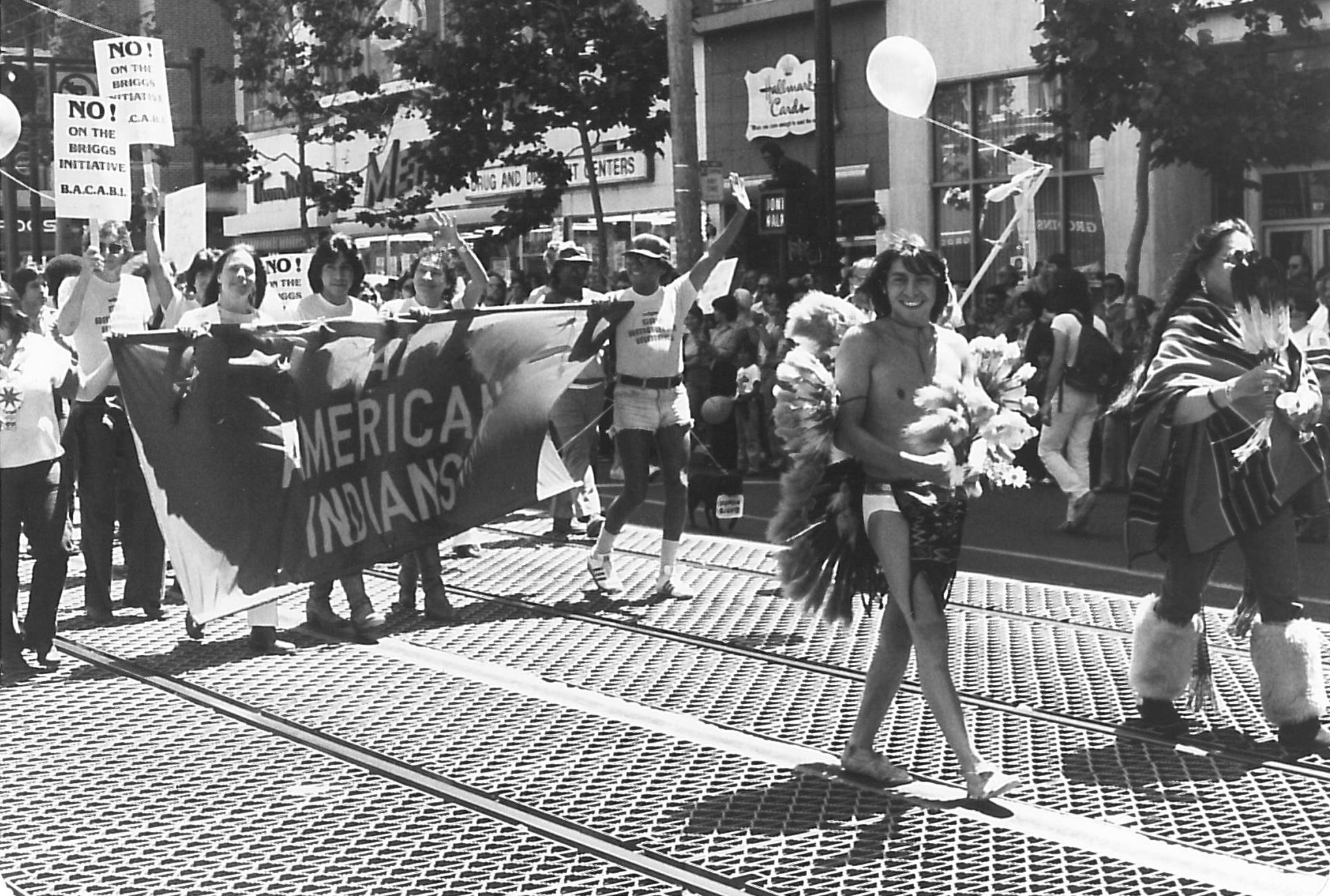 Elaine Gay Jarvis, Gay American Indians contingent in the 1978 Gay Freedom Day parade (1978), Elaine Gay Jarvis Papers (2018-90), GLBT Historical Society.