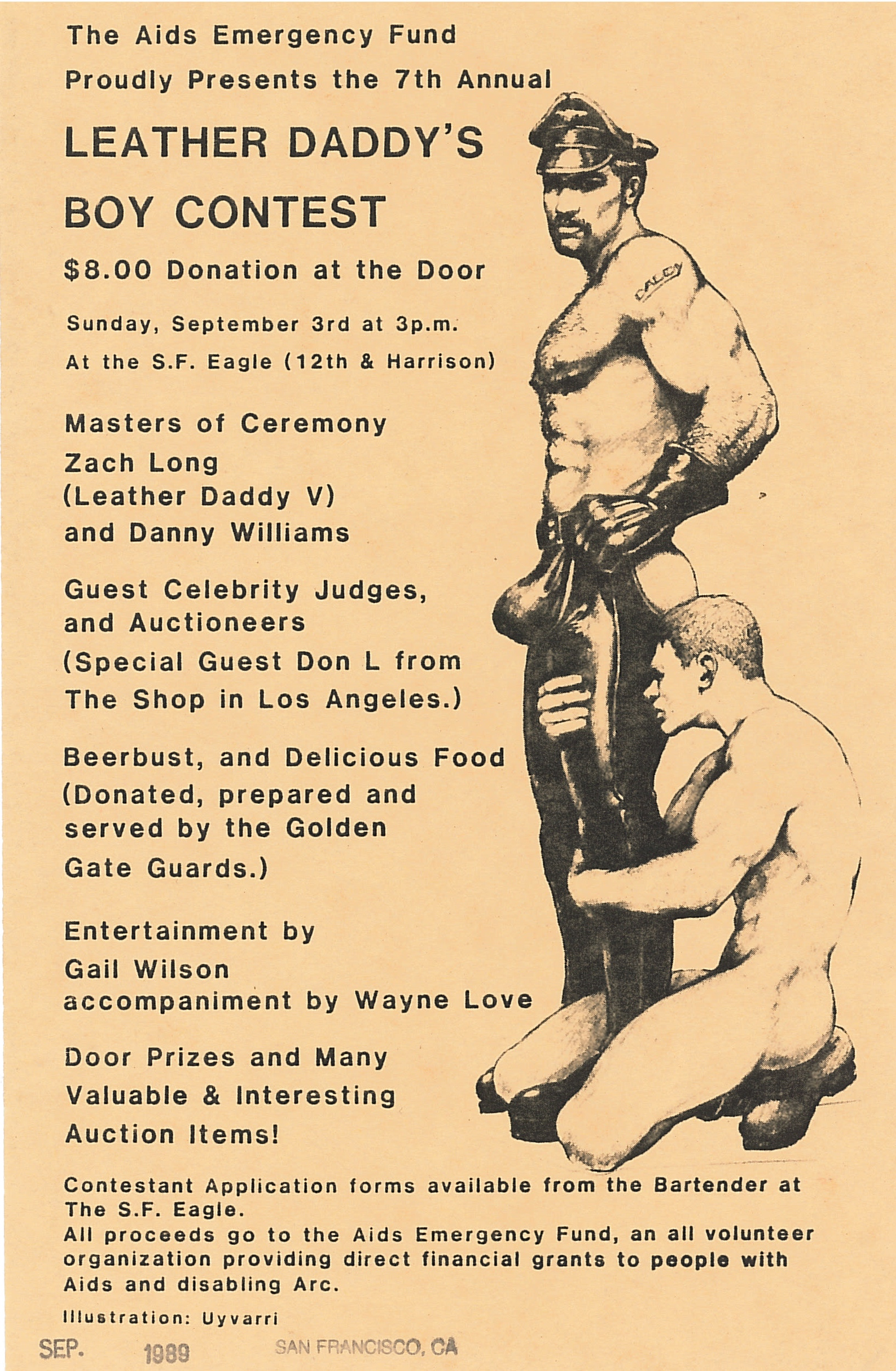 Poster for the Seventh Annual Leather Daddy's Boy Contest, presented by the AIDS Emergency Fund (1989); graphic by Robert Uyvari; collection of the GLBT Historical Society.
