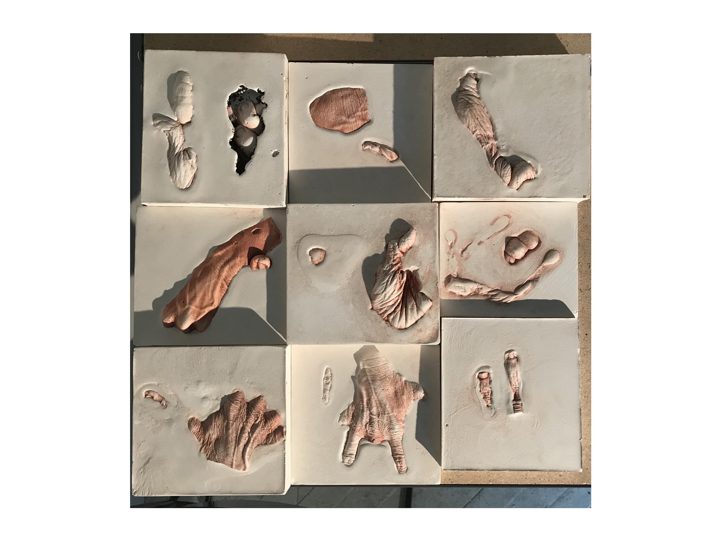 Wendy Richmond hand sculpture excavation tiles