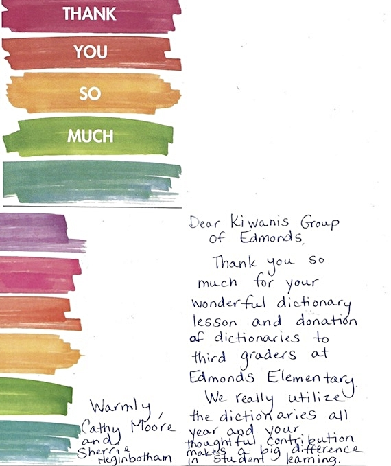 Thank you note from Edmonds Elementary School for Kiwanis dictionary donations.